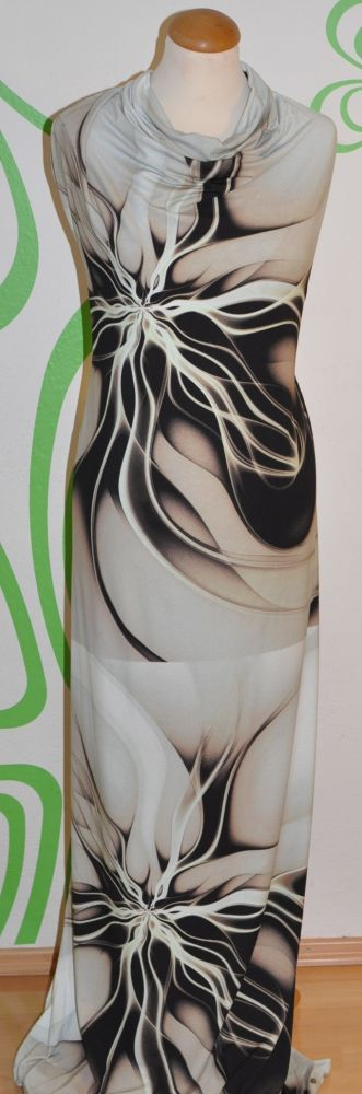 Smetanový úplet s velkým hnědým květinovým vzorem, š. 170 cm