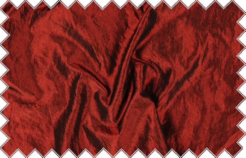 Tmavě červený mačkaný taft