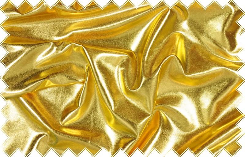 Zlatý lesklý jemný elastický úplet - lakovka