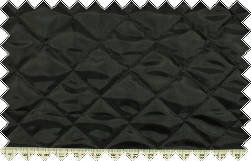 Černý podšívkový prošev, kosočverce 5x5 cm