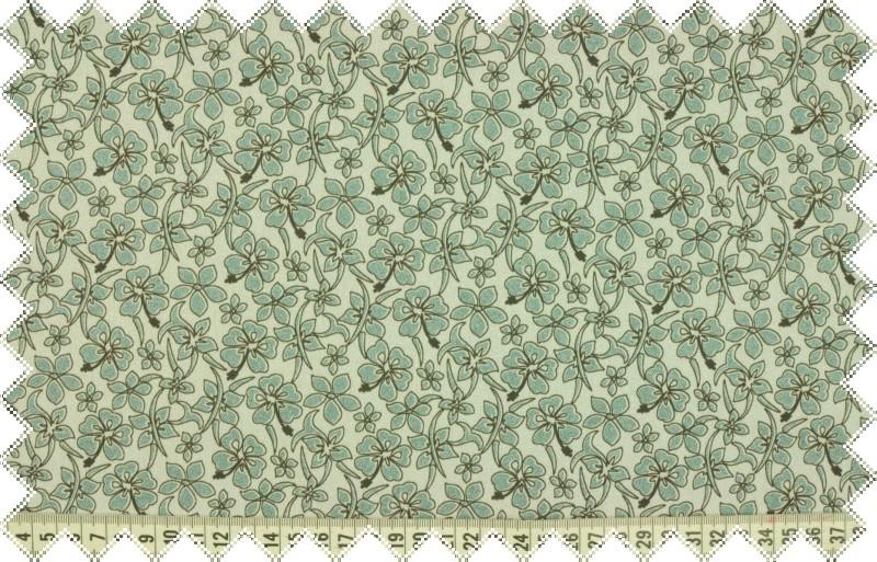 Světle šedé elastické plátno se zelenými kvítky, š.140 cm