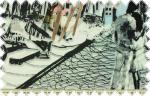 Elastický úplet s velkým vzorem města černo,růžovo, modrá, š. 170 cm